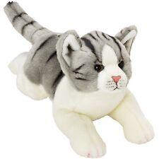 Suki Yomiko Classics Medium Plush Life Like Grey & White Tabby Resting Cat Gift