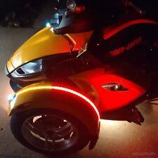Can Am Spyder RS ST RT F3 Dual Color Fender Channel LED Flex Strip Red Amber Set