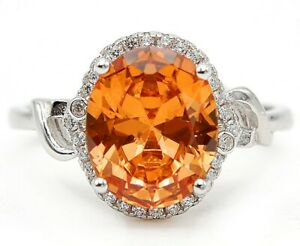 4CT Padparadscha Sapphire & Topaz 925 Sterling Silver Ring Jewelry Sz 7 SD3