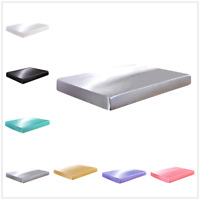 Silk Satin Bed Fitted Sheet Bed Mattress Pad Protector Cover Bedding Bedclothes