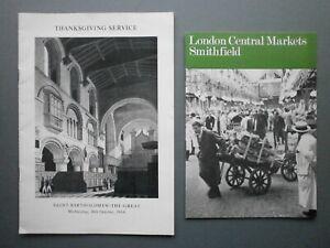 CENTRAL MARKETS, SMITHFIELD LONDON 1968 INFO BOOKLET & CENTENARY SERVICE BOOKLET