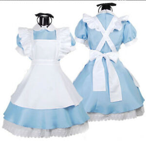 Alice in Wonderland Costume Waitress Uniform Maid Blue Dress Halloween Cosplay