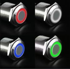 16mm 12V LED Druckknopf Druckschalter Edelstahl ON/OFF wasserdicht Für Auto KFZ