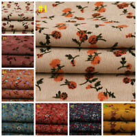 1M Print Cotton Fabric Retro Flower Corduroy Cloth DIY Sewing Material Handcraft