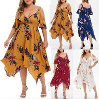 Plus Size Fashion Women Floral Printed Short Sleeve V-Neck Cold Shouder Dress