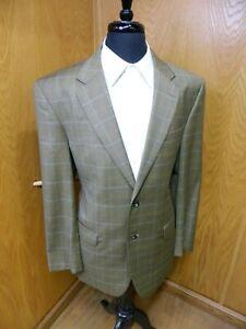 Mens Blazer Sport coat Jacket Jos A Bank 44r Wool Blend Golden Olive Plaid S#120