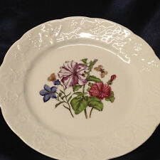 """LIERRE SAUVAGE CNP WILDFLOWERS OF FRANCE SALAD PLATE 8"""" GRAPES EMBOSSED RIM A"""