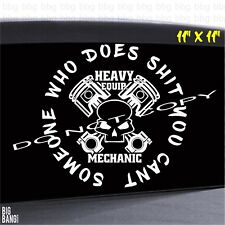 Large Heavy Equipment Mechanic Vinyl Sticker Car Decal...