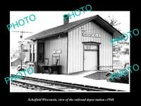 OLD LARGE HISTORIC PHOTO OF SCHOFIELD WISCONSIN, RAILROAD DEPOT STATION c1940