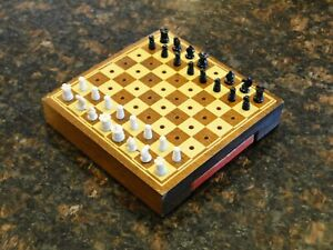 1940's Vintage DRUEKE Mini Travel WOODEN CHESS BOARD SET, Good Condition