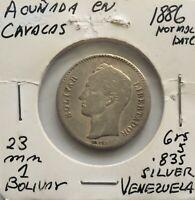 1886 Venezuela 1 Bolivar Silver Coin Gram 5