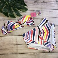 Kate Spade Cruise 2020 Bikini Two Piece NWT $145 Striped Bandeau