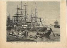 Stampa antica PORTO di CALCUTTA KOLCATA velieri  India 1894 Old antique print