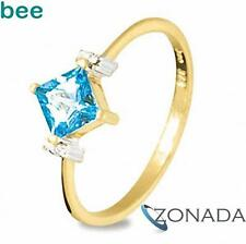 New 9ct Solid Yellow Gold Blue Topaz Diamond Ring Size P 7.75 25216/BT