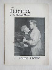 September 1952 - Majestic Theatre Playbill w/Tickets - South Pacific - Wright