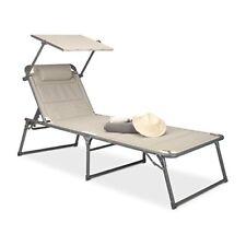 Chaises longues de jardin et de terrasse beiges en aluminium