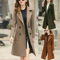 Fashion Womens Winter Lapel Button Long Trench Coat Jacket Overcoat Outwear