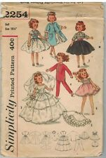 "2254 Vintage Simplicity SEWING Pattern Doll Clothes 10 1/2"" Fits Miss Revlon"