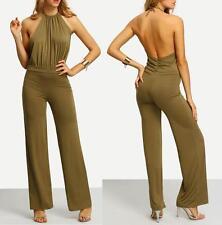 US SELLER-NEW WOMENS SEXY GREEN HALTER BACK LONG PANTS JUMPSUIT ROMPER--L 66138