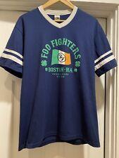 Large Foo Fighters Fenway Park Irish Flag Concert Tour Shirt Navy Blue Clovers