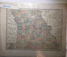 1904 State Atlas Map of MISSOURI - Color, Counties, Cities, Roads, Rivers, *VG*!