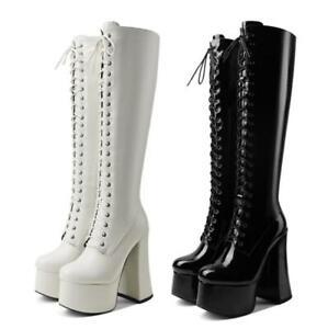 New Women Block Heel DJ Platform Knee High Knight Boots Round Toe Gothic Shoes L