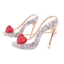 Stylish High Heel Heart Crystal Rhinestone Brooch Pin Bridal Favor Jewelry Gift