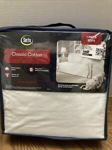 Serta Relaxed Fit Durable Furniture Sofa Slipcover 100% Cotton Fabric White NEW