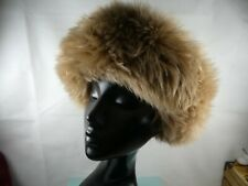 Vintage tan sheepskin fur hat, Russian cossack style hat. Gorgeous!