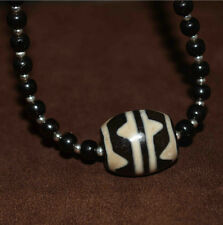 "Tibetan old dzi bead tibet necklace amulet ""tiger-tooth"" antique gzi genuine"