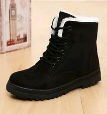 Black Fur Lined Winter Snow Ankle Boots Shoes with laces Mens Womens