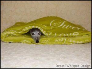 Kuschelhöhle Schlafsack für Windhund & Co. -Flanell m. Schriftzug-°Das Original°
