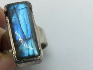 LARGE RECTANGLE LABRADORITE STERLING SILVER RING 12.1 grams 16mm wide