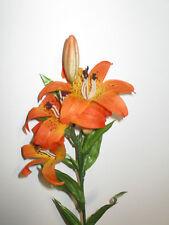 3 x Lilien orange Kunstblumen Lilie künstlich Seidenblumen Floristik wie echt