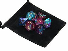 New Chessex Polyhedral Dice Set with Bag Purple Teal Gemini 7 Piece Set DnD