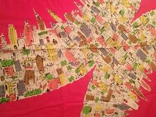 """Fabric Hot Pink Background With Buildings Town Scene Remnant Piece 57 3/4"""" x 40"""""""