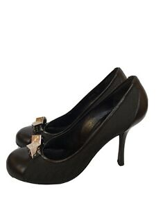 CHRISTIAN DIOR Black Monogram Cubes Decoration Heel Shoes 39 1/2