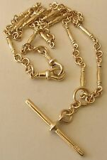 GENUINE 9K 9ct YELLOW GOLD ALBERT CHAIN NECKLACE with T-BAR and DOUBLE SWIVEL