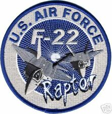 "USAF  AIR FORCE  RAPTOR F-22 4"" BLUE EMBROIDERED  PATCH"