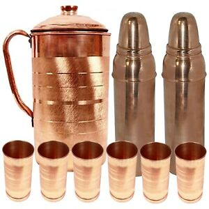 Pure Copper Water Pitcher Jug With 6 Glass & 2 Glass Bottle Set With Lid, 9 Pcs