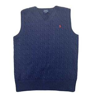 Polo Ralph Lauren Sweater Vest Cable Knit Preppy Collegiate Wear 90's Scholar