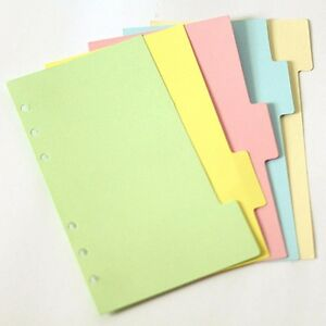 5Pcs A5/A6/A7 Size Index Multi-Coloured Tabs Divider Insert Refill Organiser #UK