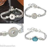 1 Armband Armbänder für Druckknopf Click Buttons Wechselschmuck Silber M12182 LP
