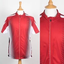 MENS RED AND WHITE CYCLING SHIRT FULL ZIP JERSEY RETRO PATTERN ROAD BIKE  CYCLE L 46db2a2e7