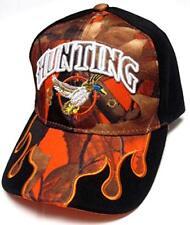 Duck Hunter Orange Camo & Black Flames Hunting Hat Cap Adult Men's (Style 1)