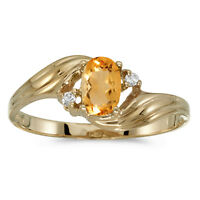 10k Yellow Gold Oval Citrine And Diamond Ring