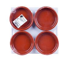 SET OF 4 x 14 cm TERRACOTTA TAPAS DISHES - Rustic Cazuela Clay Pan