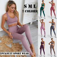 Women Seamless Buttock Yoga Pants Crop Tops Bra Vest Sports Suit Fitness Gym Set