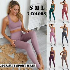 Womens Seamless Yoga Pants Crop Tops Bra Vest Sports Suit Fitness Gym Outfit Set