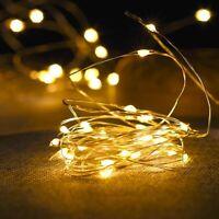 LED Lichterkette Batterie 10/20/50/100 Micro Draht Außen Innen Kaltes warmweiß ☪